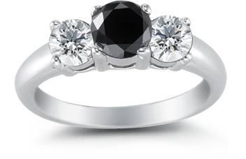 2.00 Carat Black and White Three Stone Diamond Ring