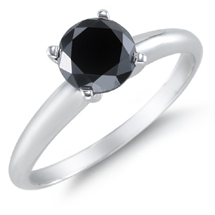 1/2 Carat Black Diamond Solitaire Ring