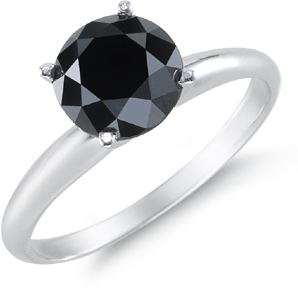 2 Carat Black Diamond Solitaire Ring