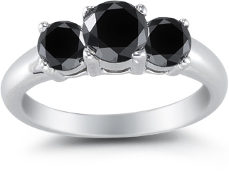 1.75 Carat Three Stone Black Diamond Ring