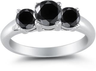2.00 Carat Three Stone Black Diamond Ring