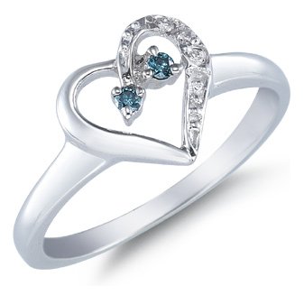 Blue Diamond Heart Ring, 14K White Gold