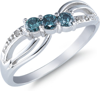 Three Stone Blue Diamond Ring, 14K White Gold