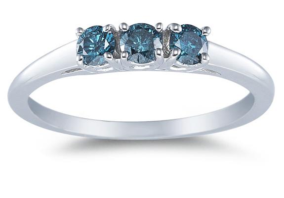 Three Stone Blue Diamond Ring, 14K White Gold