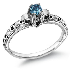 Blue Diamond 1 Carat Art Deco Diamond Ring