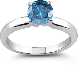 1 Carat Blue Diamond Solitaire Ring, VS1-VS2 Clarity