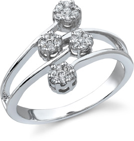 1/4 Carat Diamond Cluster Ring, 14k White Gold