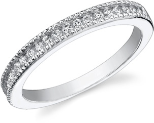 1/4 Carat Diamond Band, 14K White Gold - FINAL SALE - Size 5 1/2