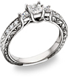 White Sapphire Princess-Cut Three Stone Ring