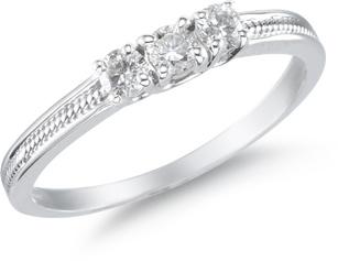 Buy Three Stone Diamond Ring, 14K White Gold