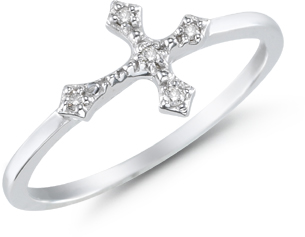 Women's Diamond Cross Ring