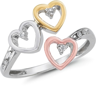 14K Tri-Color Gold 3 Hearts Diamond Ring