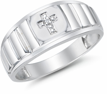 Men's Diamond Cross Ring, 14K White Gold