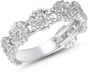 Buy Diamond Flower Band, 14K White Gold