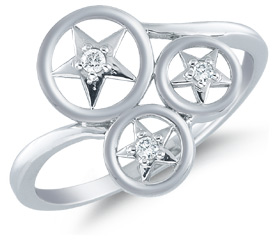 Buy Three Star Diamond Ring, 14K White Gold