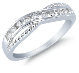 1/4 Carat 10 Stone Diamond Band, 10K White Gold (Rings, Apples of Gold)