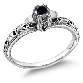 1 Carat Art Deco Black Diamond Ring