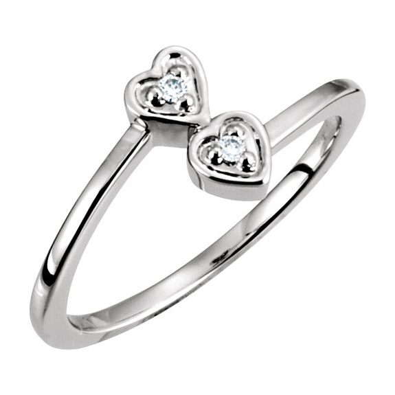 Double Heart Bypass Ring in 14K White Gold