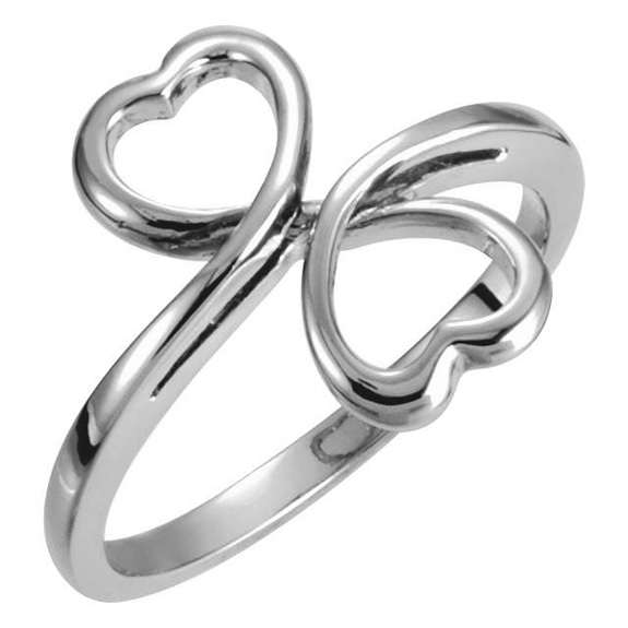Double Heart Twist Ring in 14K White Gold