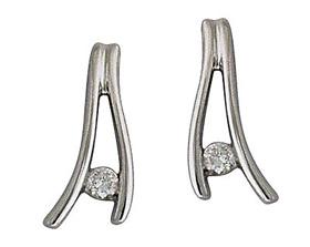 Buy Diamond Wave Earrings, 14K White Gold