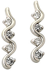 Diamond Twist Earrings, 10K White Gold