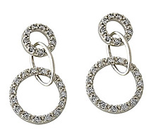 Round Diamond Dangle Earrings, 14K White Gold