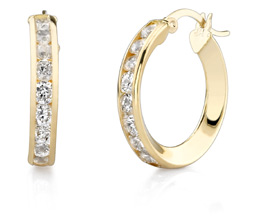 CZ Hoop Earrings, 3/4