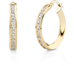 Buy CZ Hoop Earrings, 1″, 14K Gold