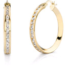CZ Hoop Earrings, 1 1/4