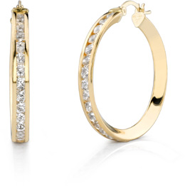 Buy CZ Hoop Earrings, 1 1/4″, 14K Gold