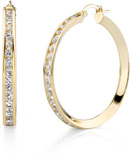 CZ Hoop Earrings, 1 1/2