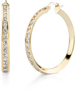 Buy CZ Hoop Earrings, 1 1/2″, 14K Gold