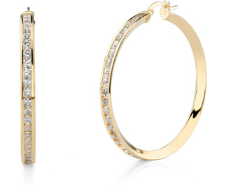 Buy CZ Hoop Earrings, 1 3/4″, 14K Gold