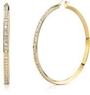 CZ Hoop Earrings, 2 1/4