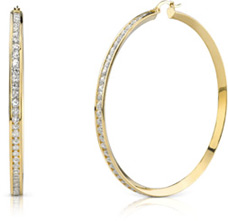 CZ Hoop Earrings, 2 1/2