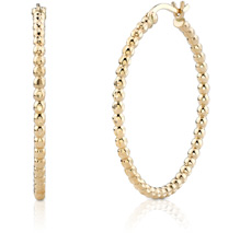 Beaded Hoop Earrings, 14K Yellow Gold