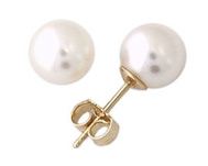 6 - 6.5 MM Cultuered Round Pearl Stud Earrings, 14K Yellow Gold
