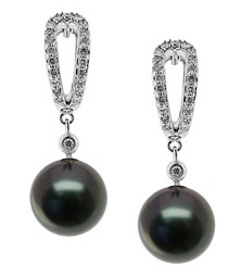 Natural Black Tahitian Round Pearl & Diamond Earrings in 14K White Gold