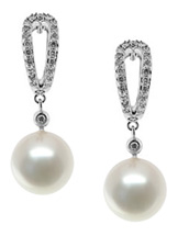 Natural Fresh Water Pearl and Diamond Drop Earrings, 14K White Gold