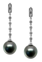 Natural Black and Tahitian Pearl & Diamond Drop Earrings, 18K White Gold