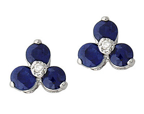Sapphire and Diamond Three Stone Flower Earrings, 10K White Gold (Earrings, Apples of Gold)