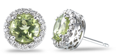 Diamond and Peridot Earrings, 14K White Gold