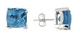 Buy Cushion Cut Blue Topaz Earrings, 14K White Gold