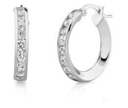 Buy CZ Hoop Earrings, 3/4″, 14K White Gold