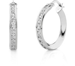 Buy CZ Hoop Earrings, 1″, 14K White Gold