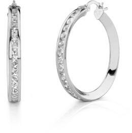 Buy CZ Hoop Earrings, 1 1/4″, 14K White Gold