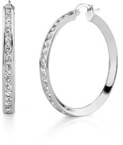 Buy CZ Hoop Earrings, 1 1/2″, 14K White Gold