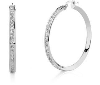 Buy CZ Hoop Earrings, 1 3/4″, 14K White Gold