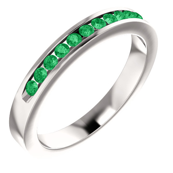 Eleven-Stone Emerald Band in 14K White Gold