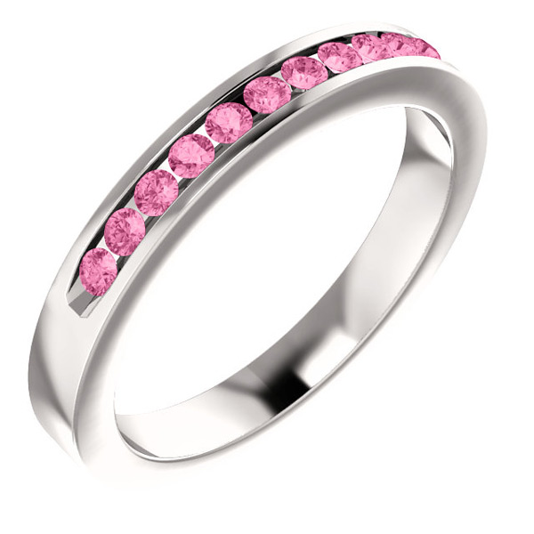 Eleven-Stone Pink Sapphire Band in 14K White Gold